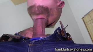 Plumber gets a hard fuck by beefy mature client
