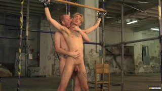 Skillful blowjob and handjob with restrained blond twink