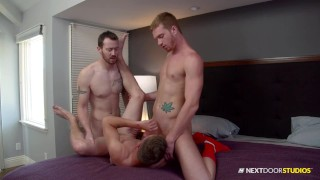 NextDoorBuddies Jocks Celebrate A Game Well Played With Bareback Threesome