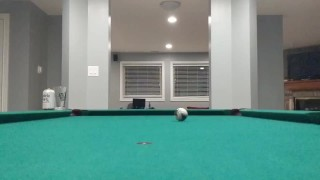 Stepbro bounces pool ball while counting to 10 while his toilet flushes