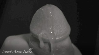 Extreme close up cumshot in slow motion of a hard big cock