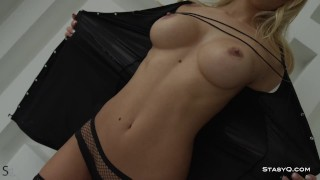 Busty russian beauty exposing her perfect big tits and amazing body