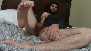 Scruffy Stud Jerks Huge Dick, Massive Cumshot And Moaning With Pleasure