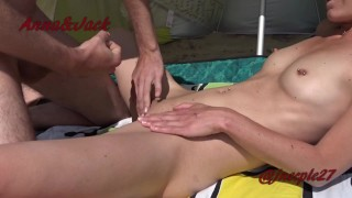 Stranger cumshot on my wife at the beach