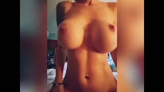 Perfect body wife with huge tits fucks cowgirl
