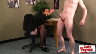 Humiliated loser wanks his cock for cfnm