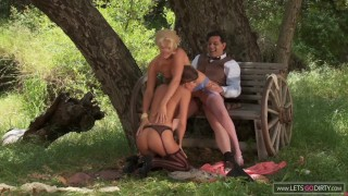 Hot Vintage Threesome Outdoor