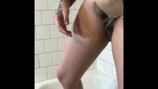 tattooed alt girl trims and shaves her goth bush