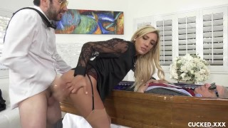 Grieving Blonde Widow Blows and Fucks Stiff Dick Next to Cuckolded Husband