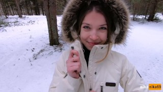 I love quick sex outdoors even in winter - Cum on my pretty face POV