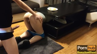 HOT STEP SISTER STUCK IN TABLE PISSING HERSELF AND FUCKED BY STEP BROTHER