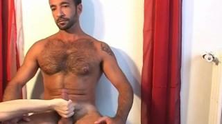 Nextdoor str8 dad gets wanked his big cock by us in spite of him