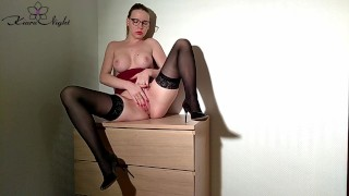 Horny Teacher Passionate Fingering after Work - Orgasm Closeup