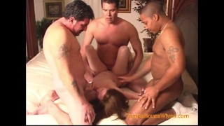 The Weekly Interracial Gangbang of a Horny Housewife