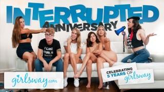 GIRLSWAY Interrupted 5 Year Anniversary Sex!