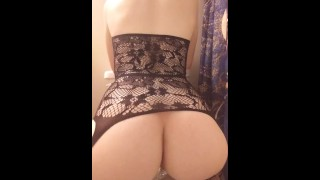 Teen rides dildo in Lacy Lingerie
