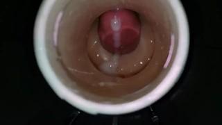 Fucking Fleshlight Launch (INSIDE VIEW) Moaning Cumshot to Fucking Her BF