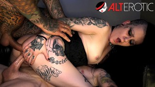 Tattooed slut Mallory Maneater takes on two dicks