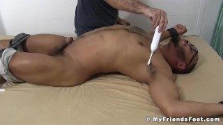 Foot worship and tickling with hunky black guy with fetish