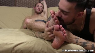 Young dudes decide to have foot worship session together