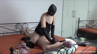 Wife in black leather fucks tied husband (Sample)