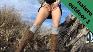 Hot sexy girl pulls upskirt no panties, spreads pussy, pees outdoors beach