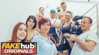 FAKE PORN SHOOT Lucky handyman fucks pornstars Charlie Red and Mary Rock