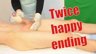 Male sugaring brazilian waxing with a jerk off. Twice happy ending
