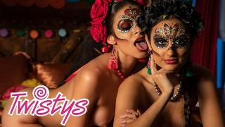 Twistys - Mexican Day of the dead lesbian sissoring - Molly Stewart, Bella