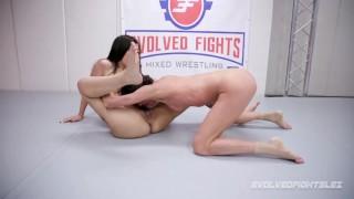 Lesbian Amazons Wrestling Sofie Marie strapon fucks Ashlee Juliet