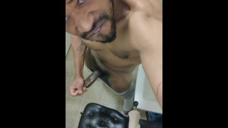 Guy in Bathroom Caught Banging BBC and Dripping on Chair
