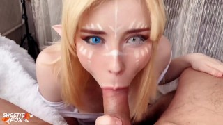 Babe POV Blowjob Dick and Cum in Mouth - Elf Cosplay