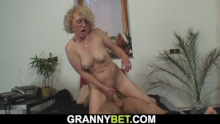 Lonely 60 years old blonde sucks and rides stranger's cock