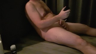 Big dick guy moans and comments jerking off with fleshlight cum on face