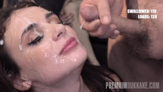 Premium Bukkake - Kate Rich swallows 141 huge mouthful cum loads