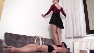Femdom ladies enjoy to trample slaves