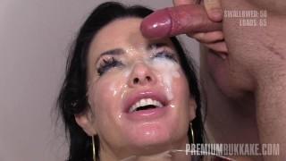 Premium Bukkake - Veronica Avluv swallows 66 huge mouthful cum loads