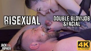 Quarantined Bisexual Double Blowjob & Facial