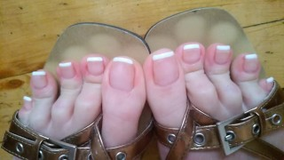Showing long toes with french toe nails in sexy flip flops- OlgaNovem