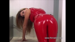 Red latex babe Gemmas high heels and fetishwear with bombshell beauty