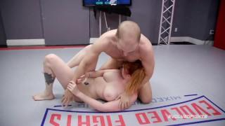 Lauren Phillips mixed nude wrestling Indiana Bones getting a rough fuck