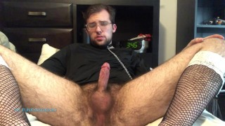 Collared Soft Boy in Fishnets Jerks, Edges, and Cums