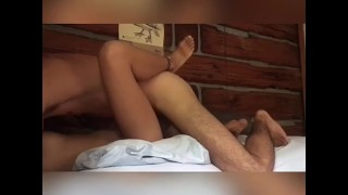 Big natural tits amateur couple fucking ending in cowgirl creampie