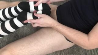 sexy girl footjob & sockjob with knee socks cumshot feet