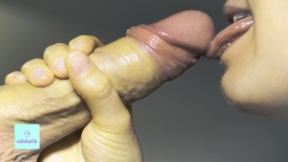 Intense detailed close up blowjob with massive cum in hot babe´s mouth