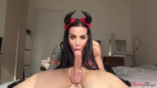 SEXY Demon DEEPTHROAT a big cock, DRAINS balls and swallows!