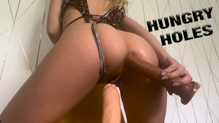 HORNY TEEN NEEDS two DICKS IN HER TIGHT HOLES   LaraJuicy