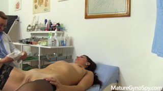 Young MILF caught naked in gyno office with hidden cam by freaky doctor