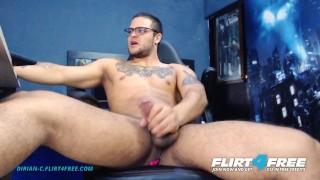 Dirian C on Flirt4Free - Sexy Beefy Latino w Big Cock Grinds on His OhMiBod