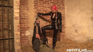 Milf dominatrix uses her male sex slave